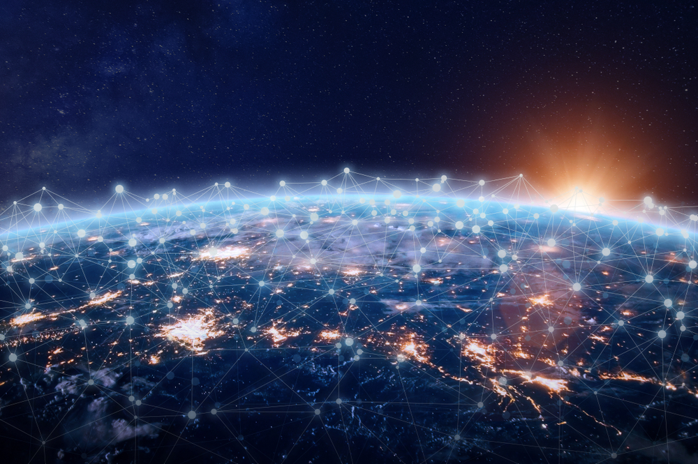 Global,World,Telecommunication,Network,Connected,Around,Planet,Earth,,Concept,About